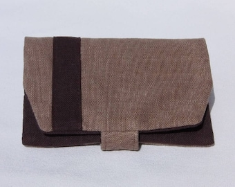 Plain fabric, fabric, Brown and beige pouch tobacco pouch