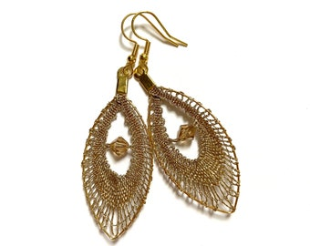 Gold lace earrings with spindles, feather-shaped earrings