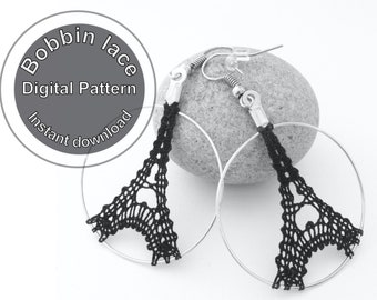 Patron numérique à télécharger boucles d'oreilles Tour Eiffel en dentelle aux fuseaux, tutoriel pour bijoux en dentelle, modèle dentelle