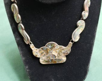 Vintage abalone and Sterling necklace