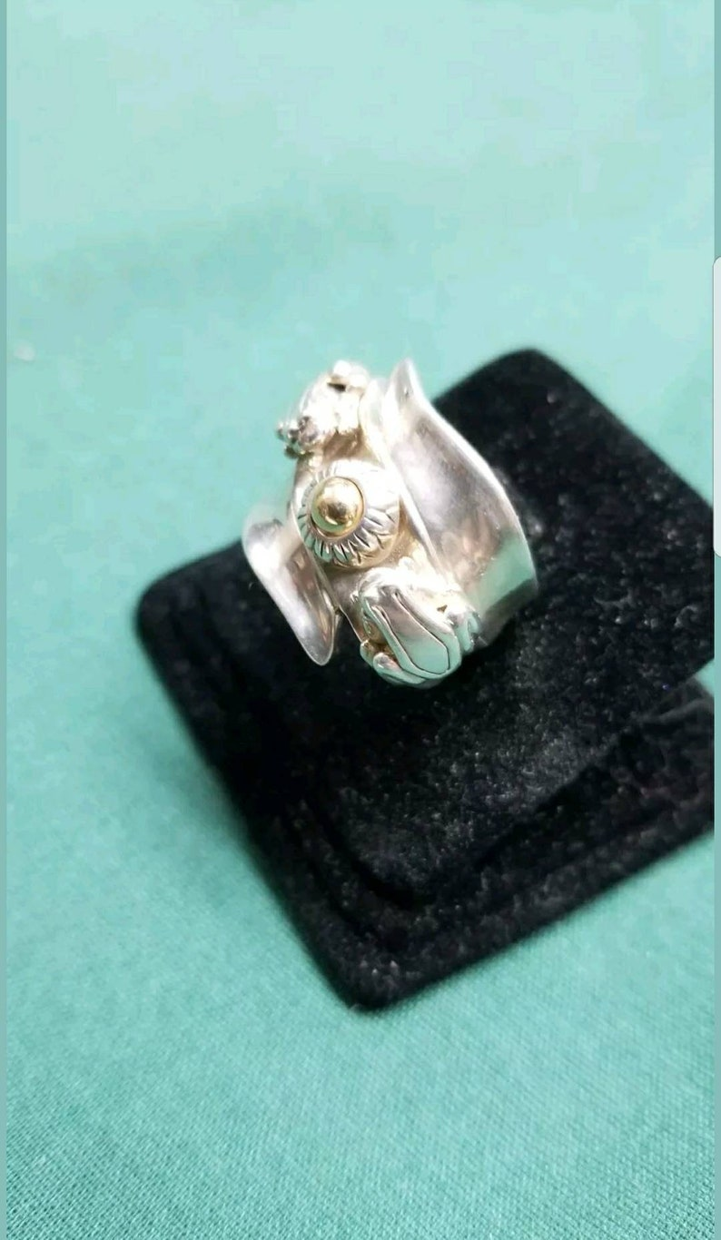 Barry Kieselstein cord Sterling14kt yellow gold ring Size 6.5