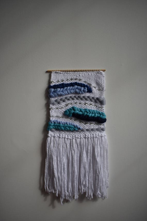 Blue And Gray Waves Woven Wall Hanging