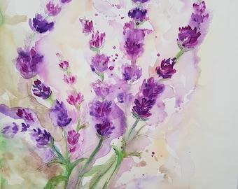 Lavender - Watercolor art original painting