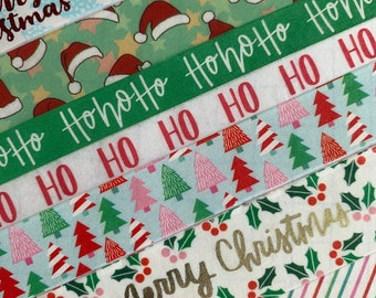 Holiday SLIM NARROW Xmas Poinsettia Holly  Washi Tape Planner Supply Crafts