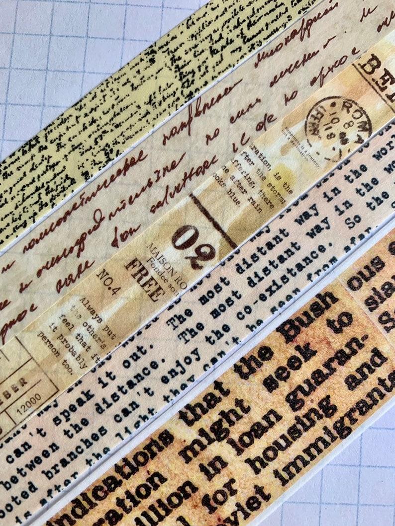 Text, script, typewriter font, newspaper, vintage word collage washi tape  sample