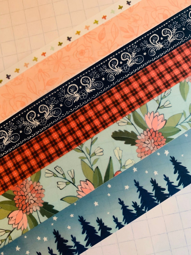 bandanna red and black plaid Great Outdoors floral hiking washi tape SAMPLES starry night camping