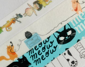 Cats, kittens, faces, collage, cat paws, washi tape SAMPLES