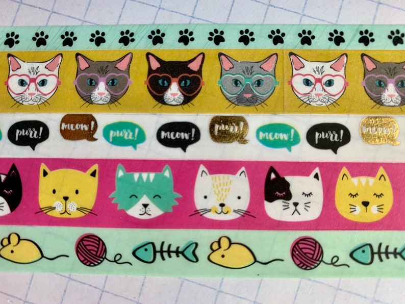 cat paws gold foil Cats pink glitter washi tape samples mouse