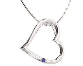 Silver Pendant, Silver Pendant with Sapphire, Silver Pendant Heart with Sapphire, Silver Pendant Heart, Heart with Pendant, Sapphire Pendant
