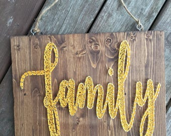 Ready to Ship Family String Art Sign