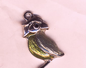 bd5fc2b591bf Pendentif chouette ou hibou émaillé vert et argent, fourniture bijouterie