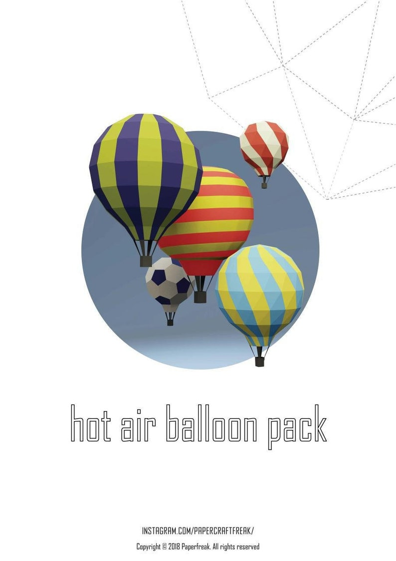 Papercraft 3d Hot Air Balloon Pack Pepakura Low Poly Paper Sculpture Diy Gift Deor For Home And Office Pattern Template Decoration Holydays