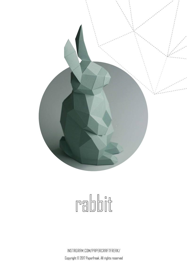 Papercraft rabbit Small bunny  3D Low Poly Paper Sculpture DIY image 0