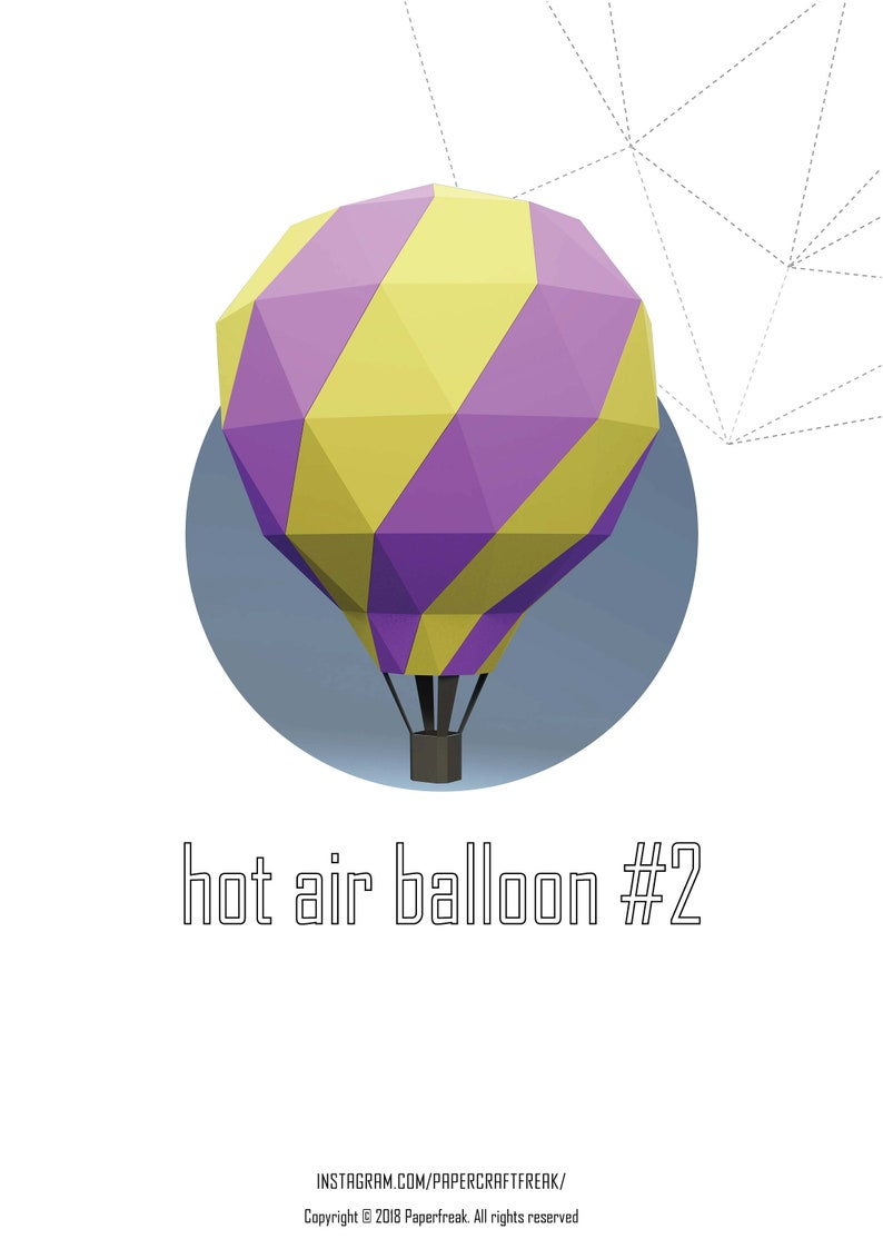 Papercraft 3D hot air balloon #2 pepakura Low Poly Paper Sculpture DIY gift  Deor for home and office pattern template decoration holydays
