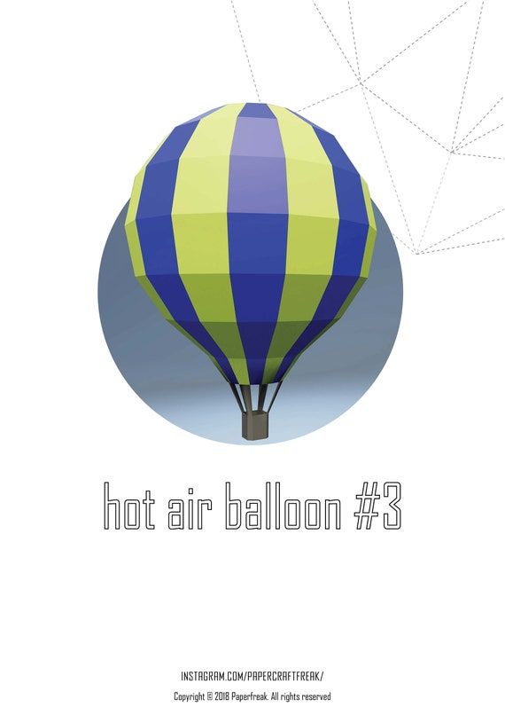 Papercraft 3D hot air balloon #3 pepakura Low Poly Paper Sculpture DIY gift  Deor for home and office pattern template decoration holydays