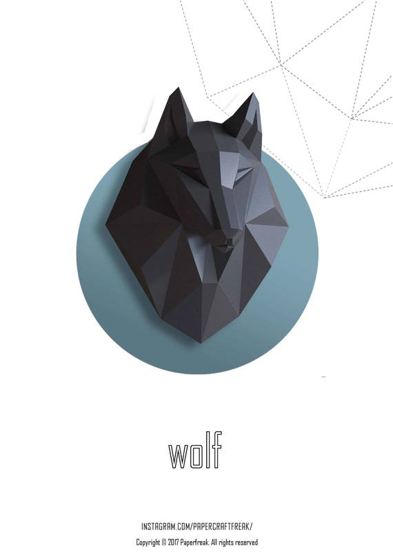 papercraft wolf head bonus 3 color wolf 3d low poly paper etsy