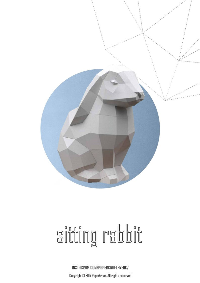 Papercraft bunny Sitting  hare 3D Low Poly Paper Sculpture DIY image 0