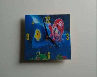 Mario inspired wooden wall clock