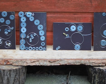 A5 MAGNETIC BOARDS x4 and book bundle Junk DNA  metal loose parts play set of four preschool early years creative play gift for child kids