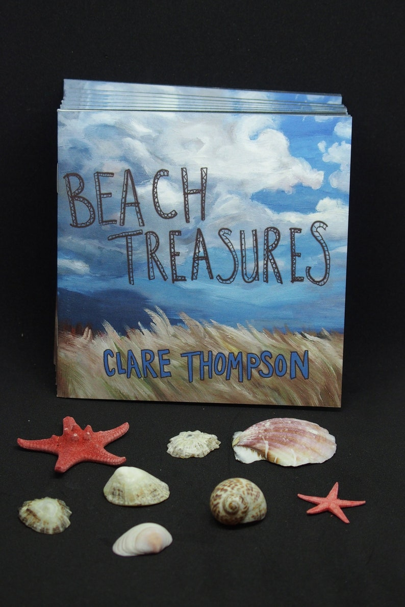 BEACH TREASURES ZINE observational paintings beach art pebbles image 0