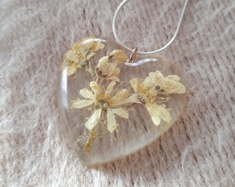 Dried flower resin pendant Filipendula vulgaris heart