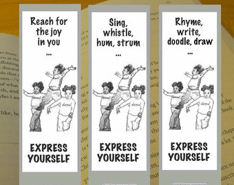 Printable Bookmarks Set of 3, Dance Bookmark, Express Yourself, Reader Gift Book Lover Gift, Book Club Gift, Bookworm Gift, Instant Download