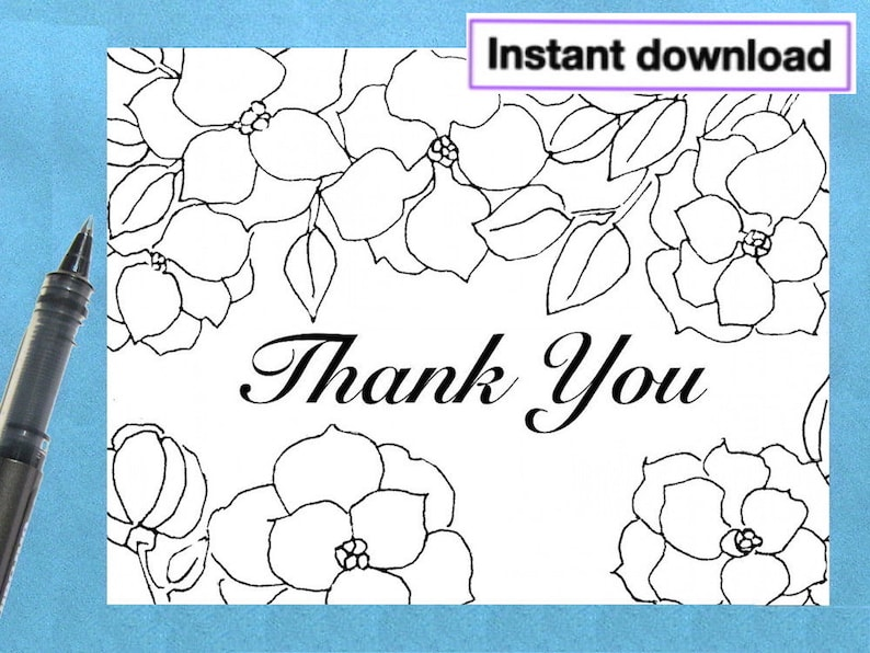 photo relating to Printable Thank You Cards to Color named Printable Thank Your self Card, Grownup Coloring Card, Black White Card, Blank Be aware Card, Printable Greeting Card, Immediate Electronic Down load