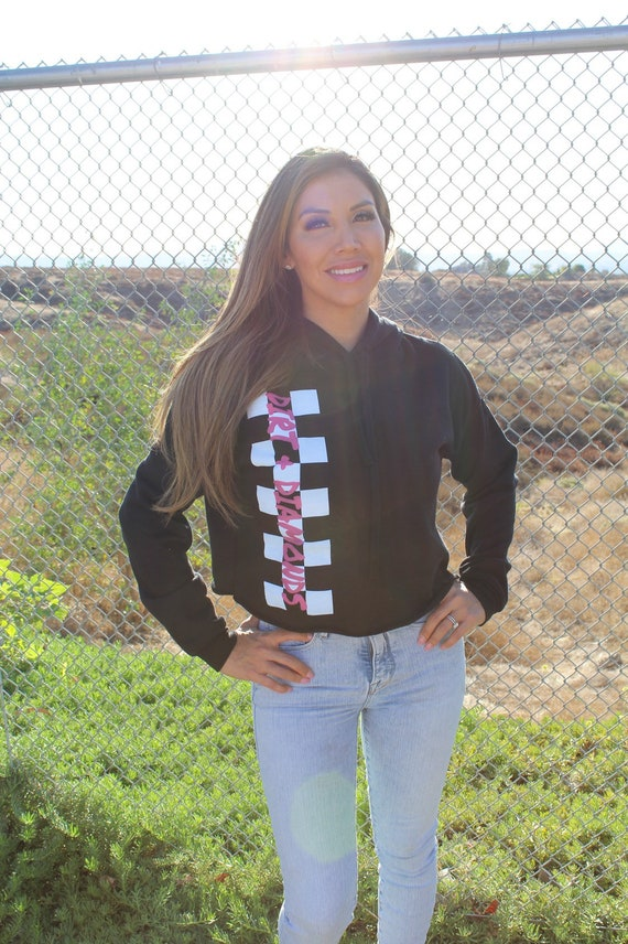 Black Crop Checkered Hoodie