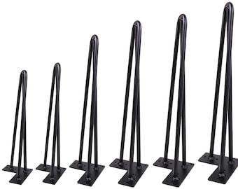 Single Hairpin Leg (Matte Black) 3 Rods DIY Industrial Strength Mid Century Modern Table Leg,1 PC LEG