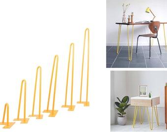 Hairpin Legs (Yellow) DIY Industrial Strength Mid Century Modern Table Legs,Set of 4