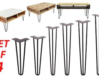 3 Rods Hairpin Legs (Matte Black) DIY Industrial Strength Mid Century Modern Table Legs, Set of 4
