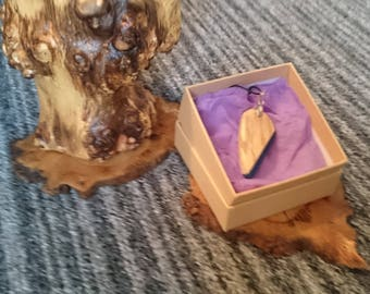 spalted beech and blue resin pendant