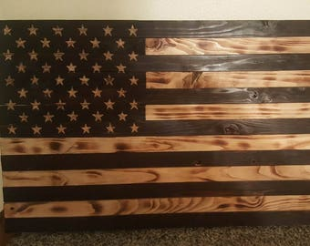 "19.5"" x 37"" Rustic American Flag - Burned"