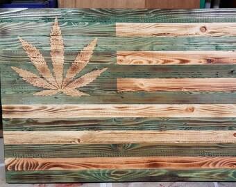 """19.5"""" x 37"""" Rustic Cannabis Flag"""