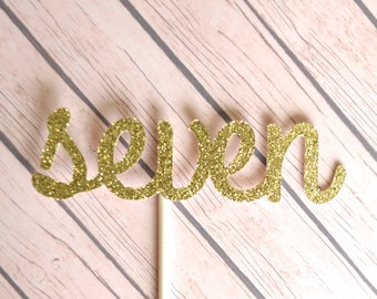 Seven Birthday Cupcake Toppers, 7th Birthday Cupcake Toppers, Gold 7 Cupcake Toppers, Seventh Birthday Cupcakes, 7 Cupcake Topper, Gold