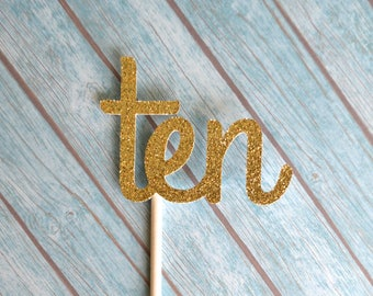 Ten Birthday Cupcake Toppers, 10th Birthday Cupcake Toppers, Gold 10 Cupcake Toppers, Tenth Birthday Cupcakes, 10th Anniversary, Gold Ten