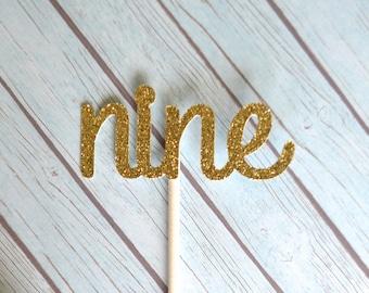 Nine Birthday Cupcake Toppers, 9th Birthday Cupcake Toppers, Gold Nine Cupcake Toppers, Gold 9 Birthday Cupcake Toppers, Ninth Birthday