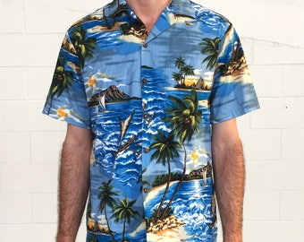 7e7e0cb3 Vintage 70s Aloha Republic Palm Tree Wave Island Themed Hawaiian Button Down  Short Sleeved Shirt (size medium)
