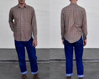 Vintage 80s Orvis Plaid Button Down Long Sleeved Shirt (Size L)