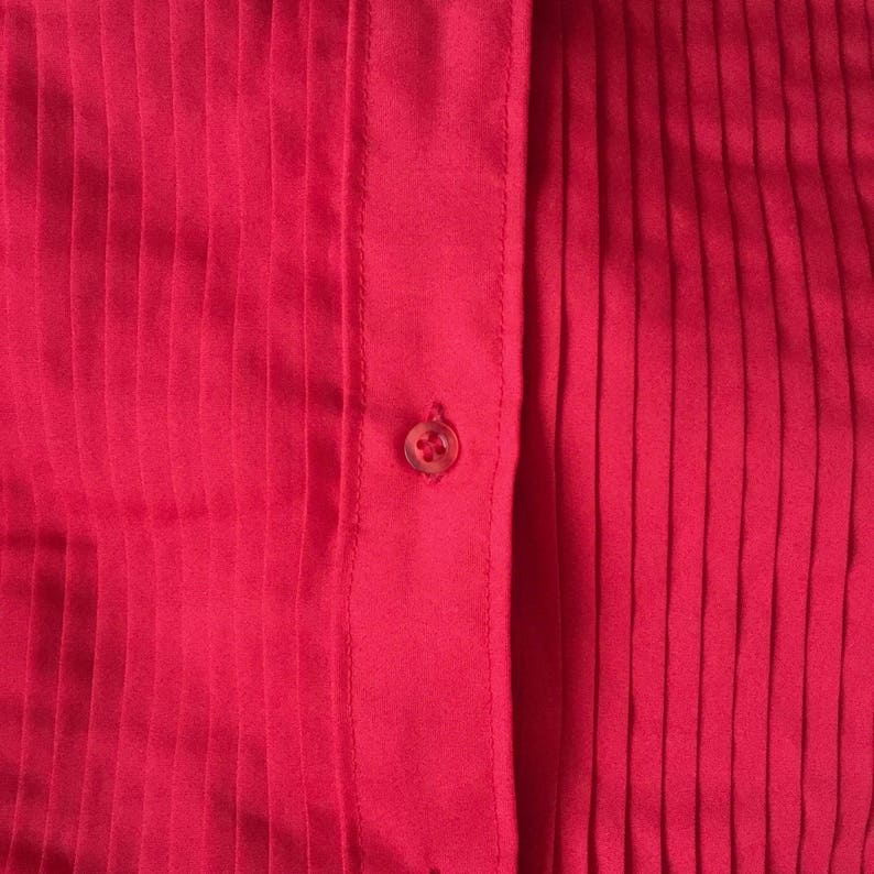 Vintage 70s After Six S2 Red Long Sleeve Button Down Tuxedo Shirt size medium, large