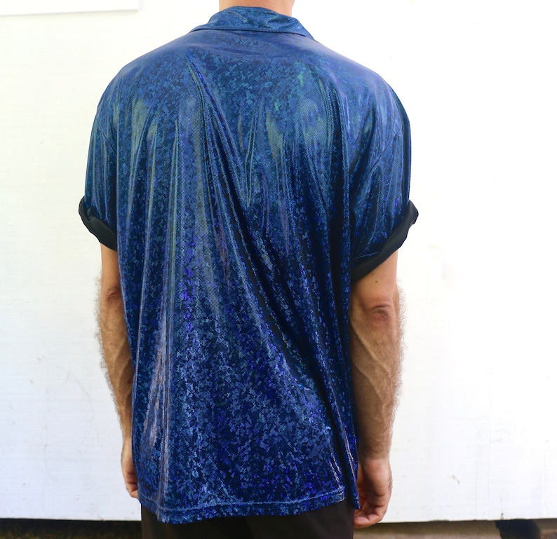 Vintage 90s Anchor Blue Shimmering Micro Dot Abstract Kaleidoscope Print Short Sleeved Button Down Shirt Size XL