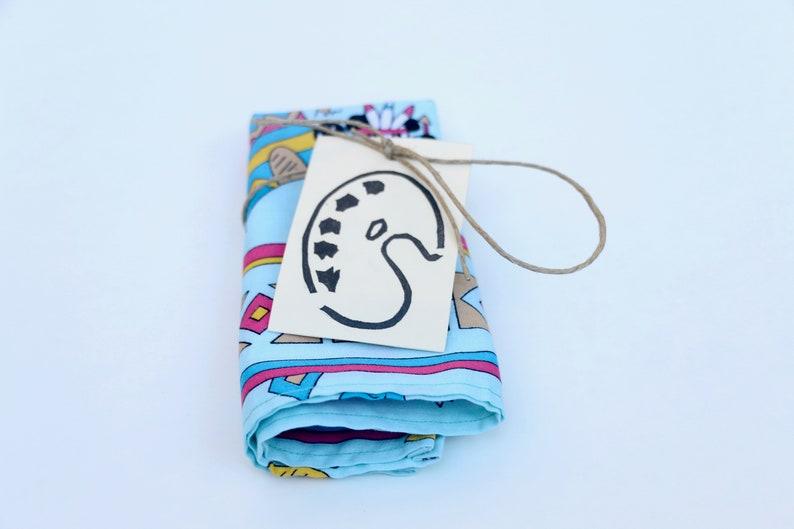 Handmade Dancing Native American Panda Bears Print Pocket Square Handkerchief
