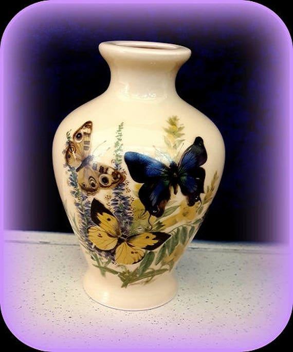 Limoges butterfly porcelain vase rare