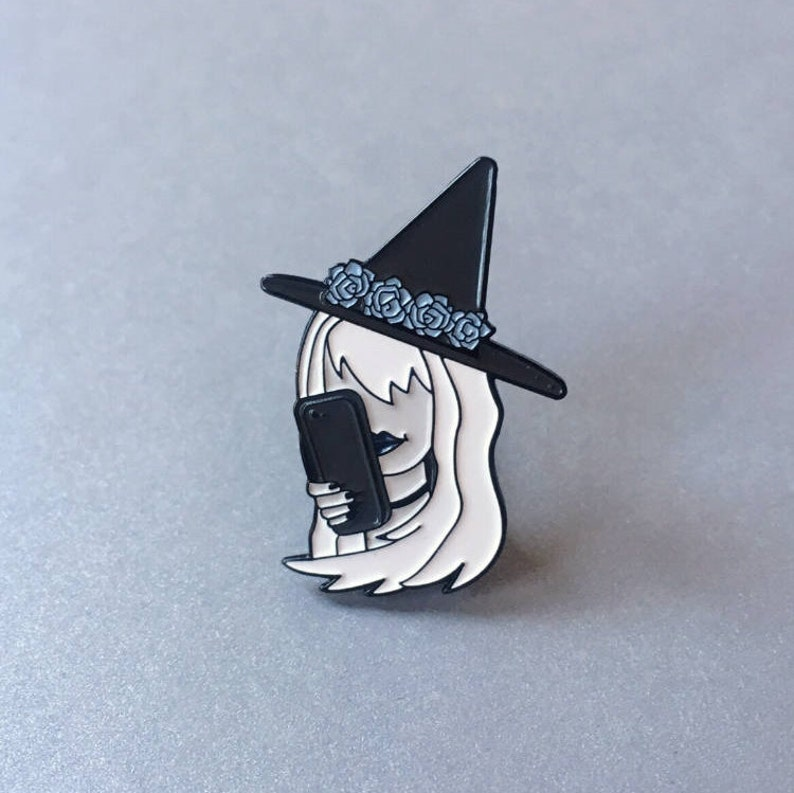 Basic Witch with Phone and Flower crown Pin by Midnight & Vine image 0