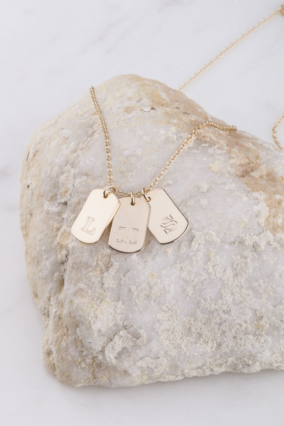Mini gold dog tags necklace dainty dog tag pendant necklace-dainty initial necklace military wife necklace for her initial necklace