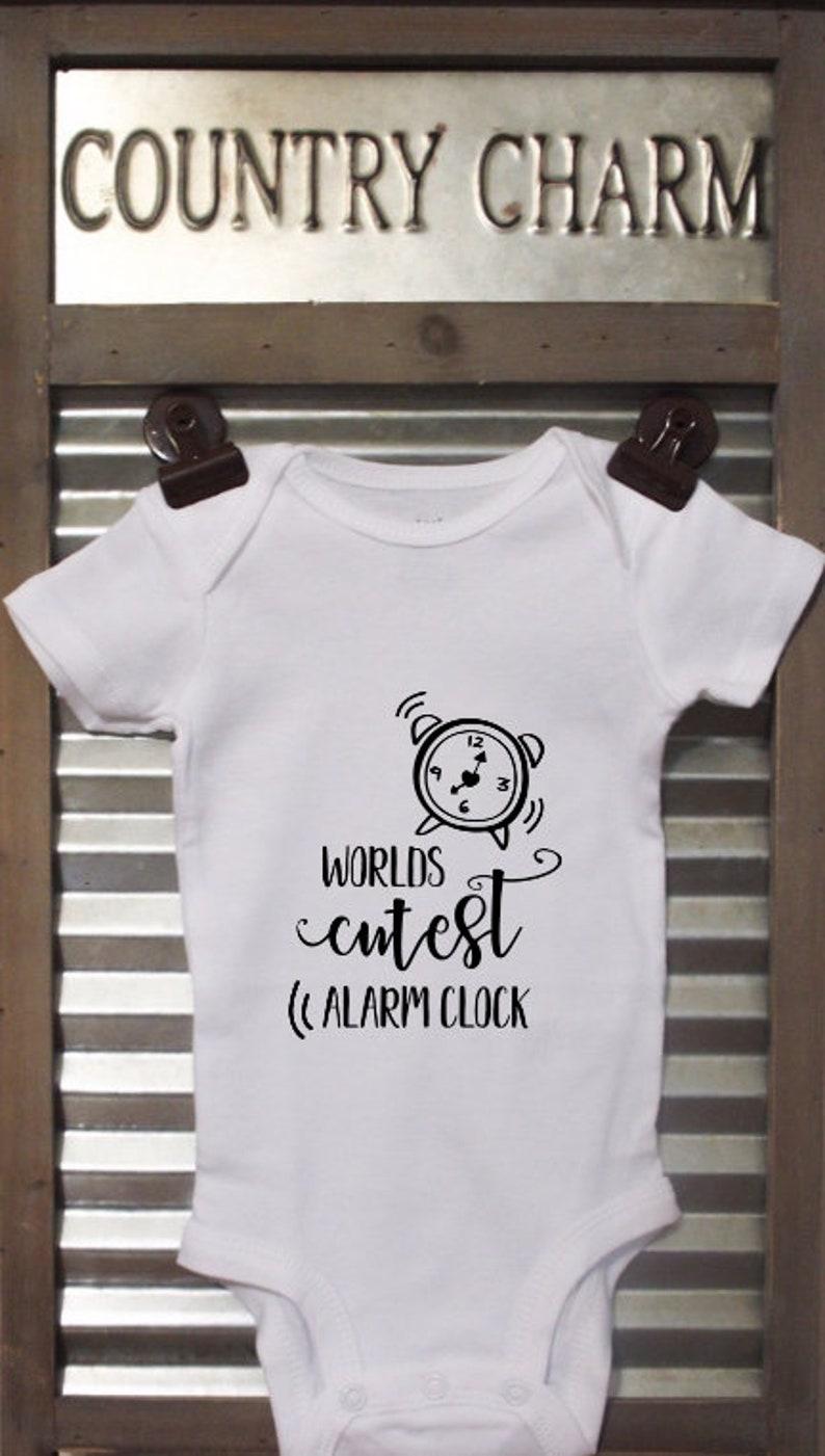 Worlds Cutest Alarm Clock Baby Bodysuit Great baby shower gift!