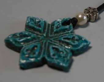 Handcrafted, Ceramic Necklace. Pearl Flower Pendant