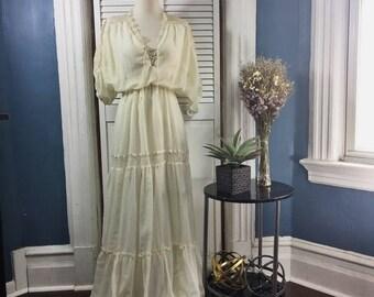 Vintage Handmade Ivory Dress