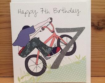 Happy 7th birthday etsy seventh birthday card bmx happy birthday cardseven7th birthday card7 todayboy bmx biker blue boy birthday greetings cardsw60 m4hsunfo