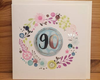 Happy 90th Birthday Card Ninety Special BirthdayBirthday Cardblank Inside CardHandfinished Pretty Spots FL33
